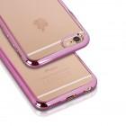 iPhone 7 silikona aizsargapvalks / caurspīdīgs ar rozā malu.