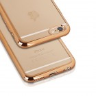 iPhone 7 silikona aizsargapvalks / caurspīdīgs ar zelta malu.